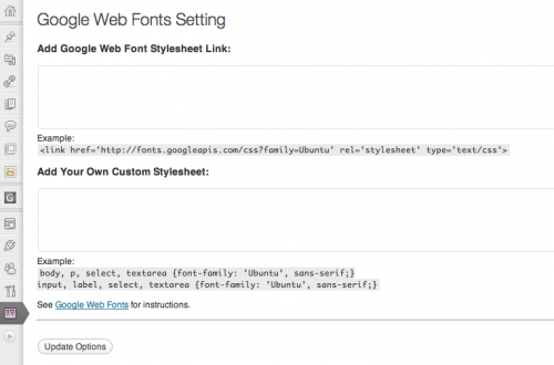 Google Web Fonts Plugin
